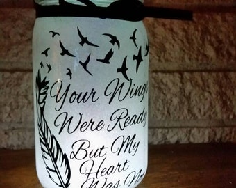 Glitter mason jar - memory jar light - Your wings were ready but my heart was not night light - memory jar-  In memory gift - sympathy