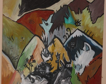 birds of the acrylic mountains on maconite 24 by 24 inches