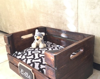 Wooden Dog Bed | Wine Crate Dog Bed for Small Dogs |  FREE SHIPPING