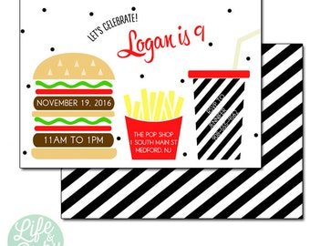 Hamburger and Fries Invitation, Burger and Fries Invitation | Hamburger Invitation | Fries Invitation- 5x7 with reverse side