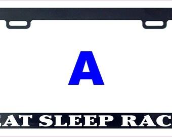 Eat sleep race funny license plate frame