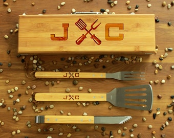 Personalized Bbq Set, Personalized Bbq Utensils, Custom Bbq Set, Custom Bbq Utensils, Barbecue Utensils, Gifts for Dad --BBQ-BOXSET-JC