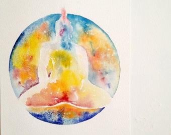 Higher Self Meditative Buddha Watercolour Painting