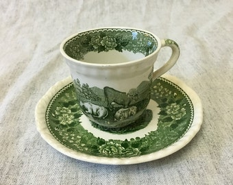 Vintage Adams English Scenic Green Transferware Cup and Saucer