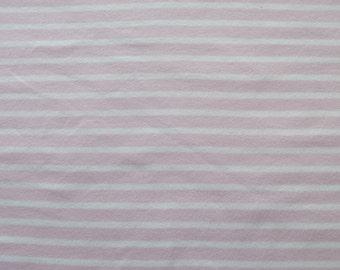 ORGANIC pink and white striped cotton jersey knit fabric. Per half metre.