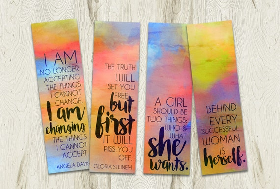 Printable Watercolour Bookmarks Set, Feminist Quotes, Instant Download, 2.25x7.5
