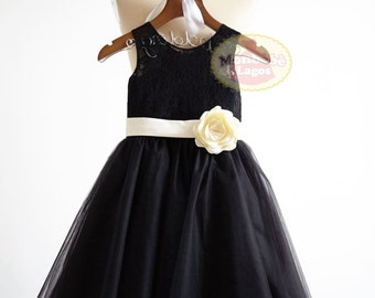 Black Lace Tulle Flower Girl Dress Junior Bridesmaid Wedding Party Dress with Champagne SashF0032