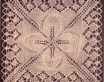 Genuine Vintage Elegant ULTRA-LACY Victorian Pretty 'Leaf-Square Motif Bedspread' Knitting Pattern PDF