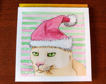 Christmas Kitty Painting Cat with Santa Hat