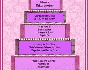 Bridal Shower Invitation, Bridal Cake Shower Invite, Purple Shower Invitation, Custom Bridal Shower Invite
