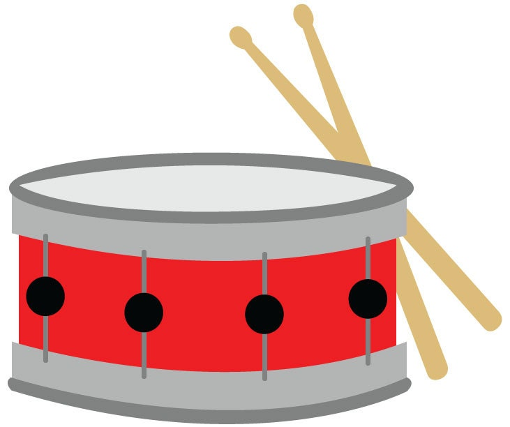 Snare Drum Clip Art/ Red Snare Drum With Drumsticks Vector