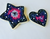 Cosmo cookies, space cookies, heart cookies, star cookies, Galaxy cookies