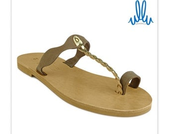 Alkinoe - Brown Suede T-Strap Leather Sandal with gold braid detail