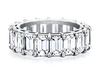 Sterling Silver 925 emerald cut AAAAA grade cubic zirconia wedding eternity anniversary promise ring band