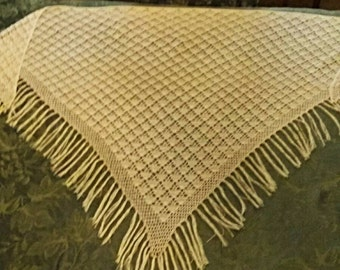 Stunning Hand Filet Crocheted Shawl. Ecru Color with Fringe.