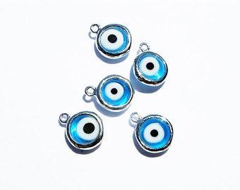 5pcs Evil Eye Blue Sterling Silver Charm, Evil Eye Pendant, Evil Eye Charm, Evil Eye Jewelry, Evil Eye Protection, Wholesale Charms