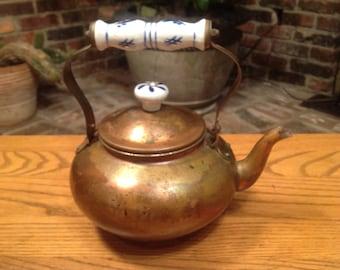 Vintage Copper Kettle Teapot Delft Style Porcelain