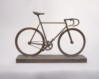 Bronze bicycle model - handmade scale model of a fixed gear bike with drop handlebars, limited edition UK