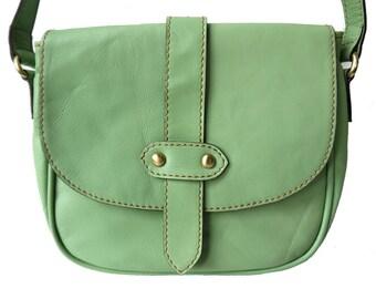 Genuine Leather Saddle Style Handbag shoulder bag in pale green