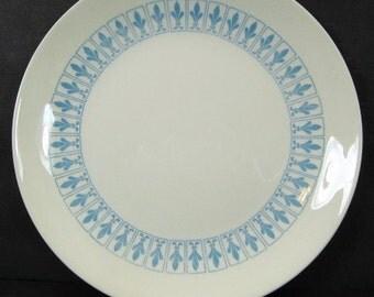 Homer Laughlin Blue Fleur de Lis 10.25in Dinner Plate Mid Century Modern MCM