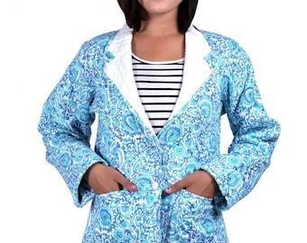 Blue Floral Quilted Coat Jacket