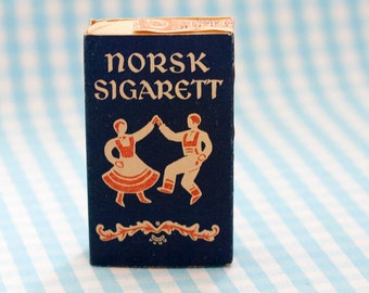 Rare 1940s Cigarette Pack, Norsk Sigarett 10-pack from Oslo Tobakkfabrikk A/S, Unopened Vintage Collectible