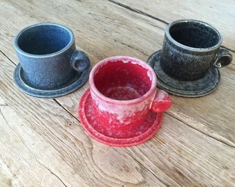 Handmade ceramic espresso cup and saucer in blue, red or black color.