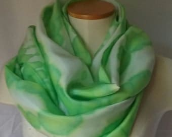 Lime Green and White Silk Scarf, Green Silk Scarf, Green Scarf, Summer Scarf, Spring Scarf, Green and White Scarf