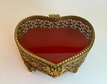 Vintage Jewelry Box; Matson 24K Gold Plated Metal Heart Shaped Jewelry Box; Ornate Filigree Jewelry Box; Heart Shaped Jewelry Box