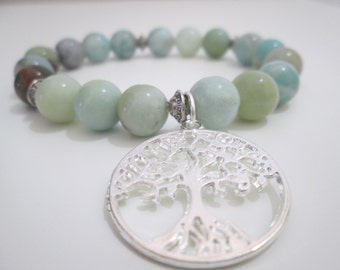 Amazonite,Amazonite gemstone bracelet,Female bracelet,Tree of life,Gift,Gift for woman,Gift for her,Amazonite Gemstone