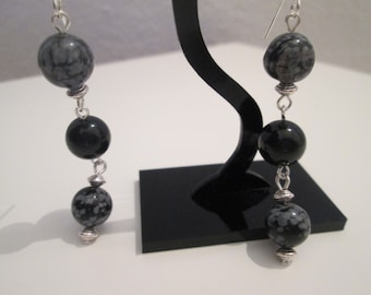 Obcidiana earrings Onyx and snow snowflake
