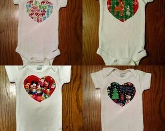 Merry Christmas, Rudolph Reindeer, Mickey Mouse, Season Greeting- Baby Toddler Heart, Short / Long Sleeve Onesie or Toddler/Kid Shirt