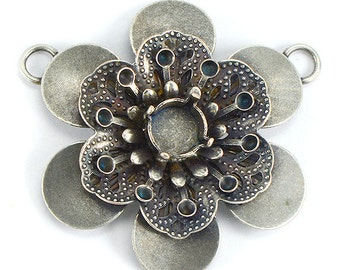 5 PCS 39ss, 14pp Flower pendant base with two top side loops for jewelry making