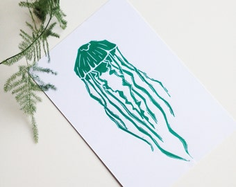 Jellyfish linocut A5 print, green/blue and white, wall art, nature print, wall decor