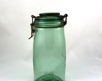 French L'Ideal Antique Canning Jar - Large, Green