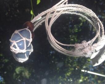 White hemp cord macrame interchangeable basket with blue aventurine