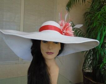 coral dress hat
