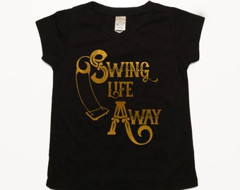 Swing Life Away Kids Tee Shirts For Boys Clothes For Boys Shirts For Girls Clothes For Girls Music Tshirt Trendy Baby Clothes Gold