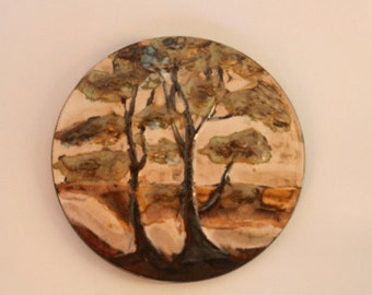 ruscha wall plate of some trees