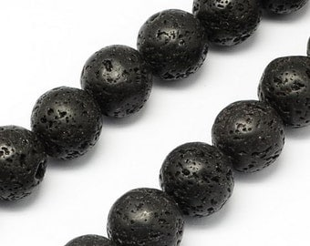 Round 8mm Natural Black Lava Stone Beads Essential Oil Use Hawaiian Volcanic Lava Rock Gemstone Porous
