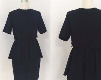 Vintage 80's Black Peplum Dress
