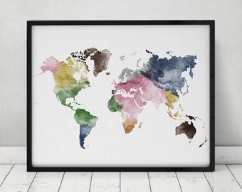 Travel map, Large World Map, watercolor world map, Wall art, world map poster, Map painting, watercolor print, Home decor, ArtPrintsVicky