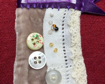 Unusual Textile Brooch with a Shabby Chic, Vintage Style