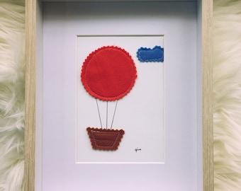 Felt Art • Hot Air Balloon • RED