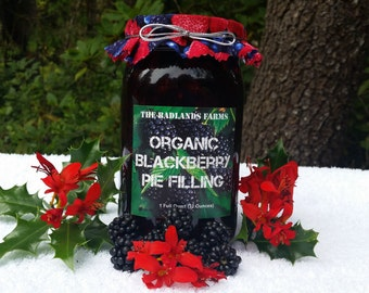 The Badlands Farm Fresh Organic Wild BlackBerry Pie Filling & Topping Gift Box 1 Quart