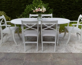 "NOW SOLD ***Beautiful Extending Dining Table and 6 Chairs, Painted with Annie Sloan ""Old White"""