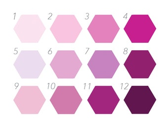 Purple and Pink Colour Chart, Custom Hexagon Wall Decor, Self Adhesive Stickers, Removable Wall Mural, Geometric Interior Design