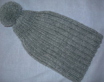 Vintage Children s Hand Knitted Hat Grey