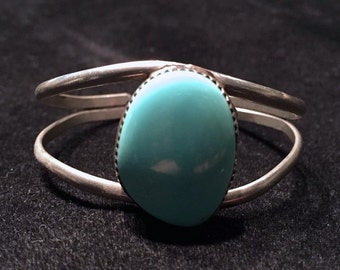 1980's Turquoise-Colored Stone and Silver Bracelet • Simple Design • Adjustable Fit