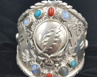 Sterling Silver Hand Made Grateful Dead Steal Your Face Gem Encrusted Turquoise Coral Moonstone Labradorite Tribal Bear Bold Cuff Bracelet